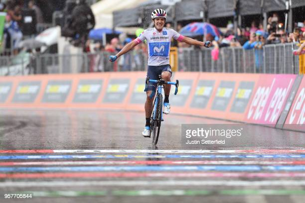 Arrival / Richard Carapaz of Ecuador and Movistar Team White Young Jersey / Celebration / Rain / during the 101th Tour of Italy 2018, Stage 8 a 209km...