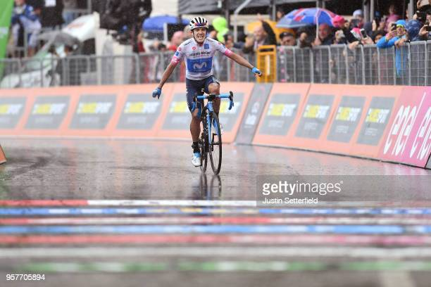Arrival / Richard Carapaz of Ecuador and Movistar Team White Young Jersey / Celebration / Rain / during the 101th Tour of Italy 2018 Stage 8 a 209km...
