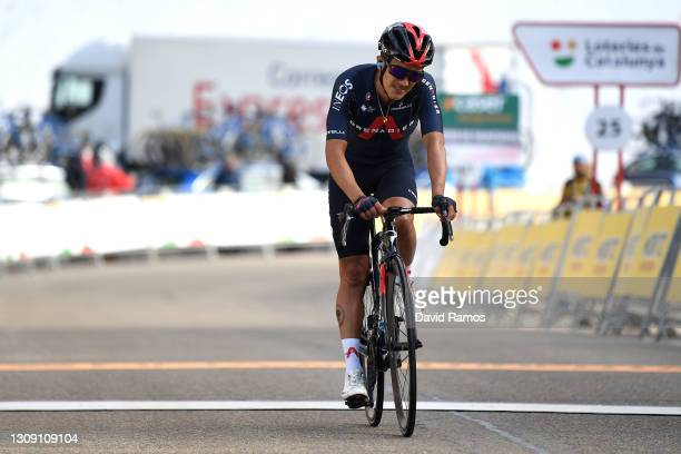 Arrival / Richard Carapaz of Ecuador and Team INEOS Grenadiers during the 100th Volta Ciclista a Catalunya 2021, Stage 4 a 166,5km stage from Ripoll...