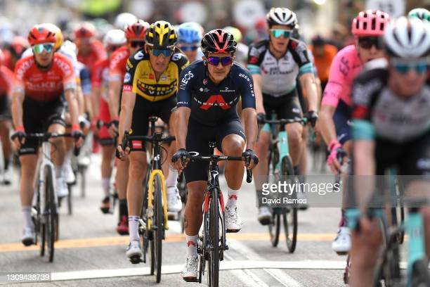 Arrival / Richard Carapaz of Ecuador and Team INEOS Grenadiers during the 100th Volta Ciclista a Catalunya 2021, Stage 6 a 193,8km stage from...