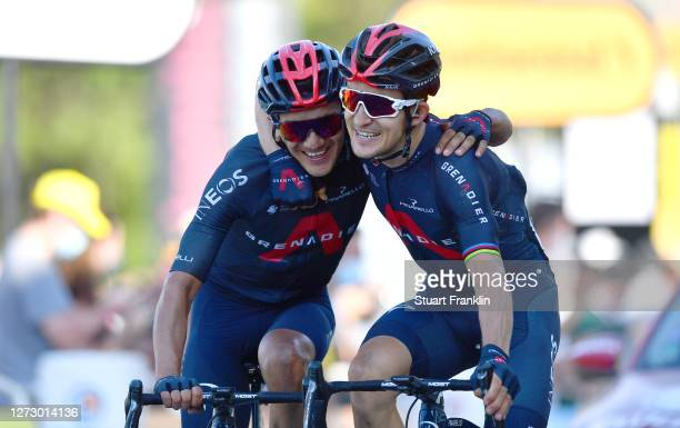Arrival / Richard Carapaz of Ecuador and Team INEOS Grenadiers / Michal Kwiatkowski of Poland and Team INEOS Grenadiers / Celebration / during the...
