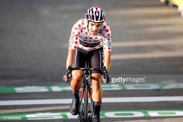 Arrival / Richard Carapaz of Ecuador and Team INEOS Grenadiers Polka Dot Mountain Jersey / during the 107th Tour de France 2020, Stage 20 a 36,2km...