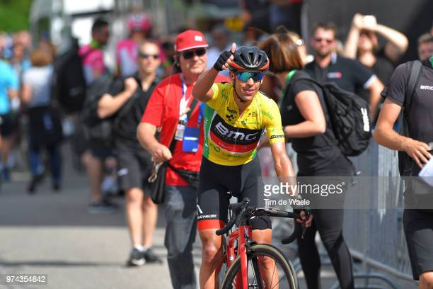 Arrival / Richie Porte of Australia and BMC Racing Team Yellow Leader Jersey / Celebration / during the 82nd Tour of Switzerland 2018 / Stage 6 a...