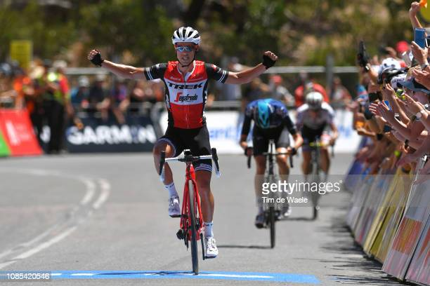 Arrival / Richie Porte of Australia and Team Trek-Segafredo Celebration / Wout Poels of The Netherlands and Team Sky / Daryl Impey of South Africa...
