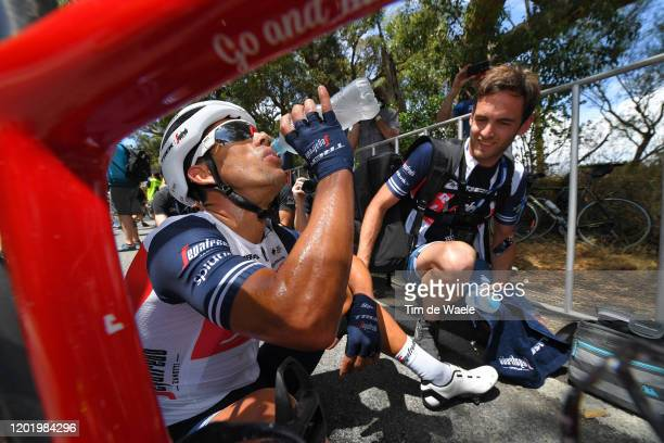 Arrival / Richie Porte of Australia and Team Trek-Segafredo / Celebration / Soigneur / Refreshment / during the 22nd Santos Tour Down Under 2020,...