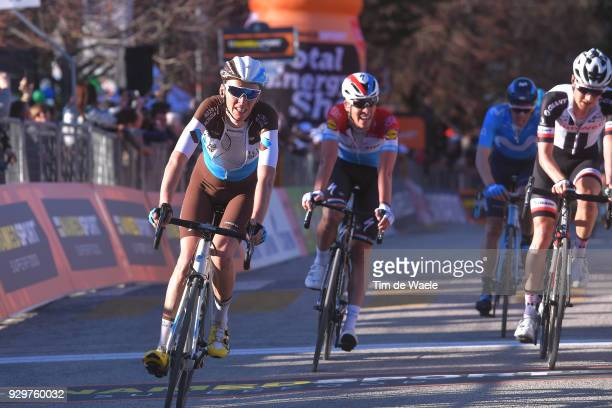 Arrival / Romain Bardet of France Bob Jungels of Luxembourg during the 53rd TirrenoAdriatico 2018 Stage 3 a 239km stage from Follonica to Trevi 425m...
