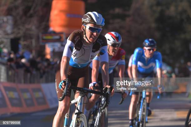 Arrival / Romain Bardet of France / during the 53rd TirrenoAdriatico 2018 Stage 3 a 239km stage from Follonica to Trevi 425m on March 9 2018 in Trevi...