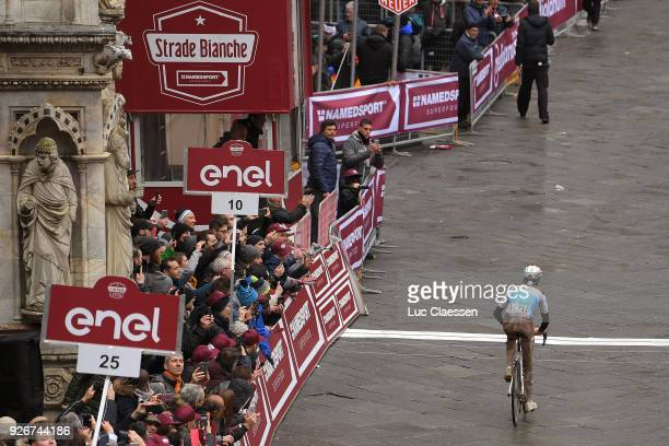 Arrival / Romain Bardet of France / Fans / Public / Piazza Del Campo / Eroica / Siena Siena on March 3 2018 in Siena Italy