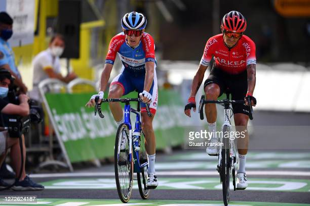 Arrival / Romain Sicard of France and Team Total Direct Energie / Winner Andrew Anacona of Colombia and Team Arkea - Samsic / during the 107th Tour...