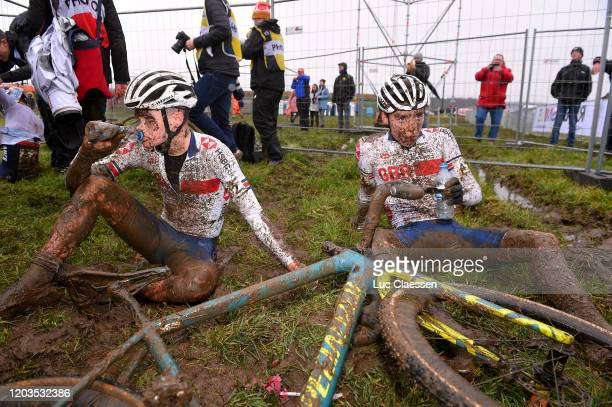 Arrival / Rory Mcguire of Great Britain / Corran Carrick-Anderson of Great Britain / Mud / Refreshment / during the 71st Cyclocross World...