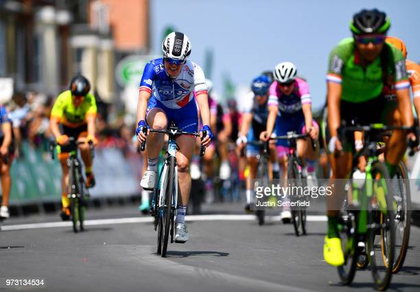 Arrival / Roxane Fournier of France and Team FDJ Nouvelle Aquitaine Futuroscope / during the 5th OVO Energy Women's Tour 2018 Stage 1 a 130km stage...