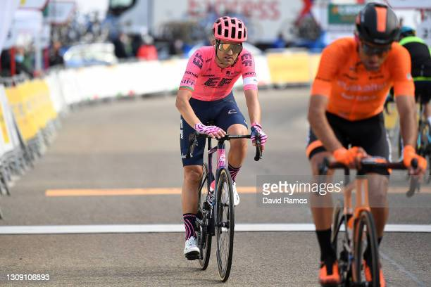 Arrival / Ruben Guerreiro of Portugal and Team EF Education - Nippo during the 100th Volta Ciclista a Catalunya 2021, Stage 4 a 166,5km stage from...
