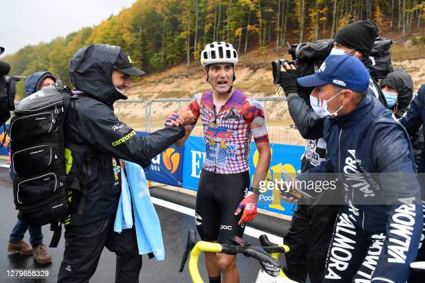Arrival / Ruben Guerreiro of Portugal and Team EF Pro Cycling / Celebration / Soigneur / Press / Media / during the 103rd Giro d'Italia 2020, Stage 9...