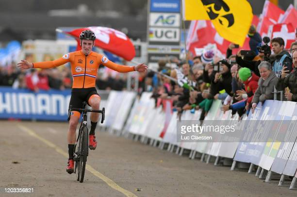 Arrival / Ryan Kamp of The Netherlands / Celebration / during the 71st Cyclocross World Championships Dübendorf 2020, Men U23 / @UCI_CX /...