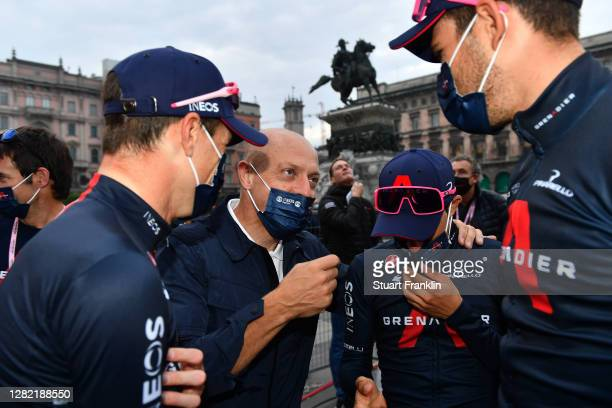 Arrival / Salvatore Puccio of Italy and Team INEOS Grenadiers / Sir Dave Brailsford of The United Kingdom Senior manager of Team INEOS Grenadiers /...