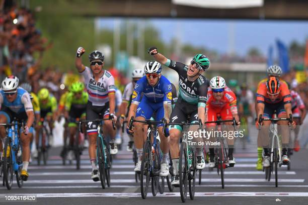 Arrival / Sam Bennett of Ireland and Team Bora-Hansgrohe Celebration / Alvaro Hodeg of Colombia and Deceuninck - Quick-Step Team / Peter Sagan of...