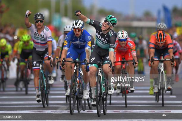 Arrival / Sam Bennett of Ireland and Team BoraHansgrohe Celebration / Alvaro Hodeg of Colombia and Deceuninck QuickStep Team / Peter Sagan of...