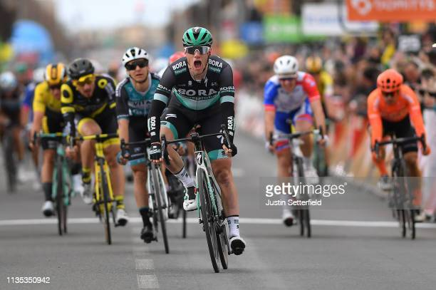 Arrival / Sam Bennett of Ireland and Team Bora-Hansgrohe / Celebration / during the 77th Paris - Nice 2019, Stage 3 a 200km stage from Cepoy to...