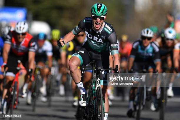 Arrival / Sam Bennett of Ireland and Team Bora-Hansgrohe / Celebration / during the 77th Paris - Nice 2019, Stage 6 a 176,5km stage from Peynier to...