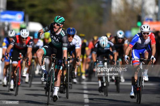 Arrival / Sam Bennett of Ireland and Team BoraHansgrohe / Celebration / Arnaud Demare of France and Team Groupama FDJ / during the 77th Paris Nice...