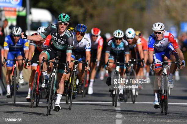 Arrival / Sam Bennett of Ireland and Team Bora-Hansgrohe / Celebration / Arnaud Demare of France and Team Groupama - FDJ / Matteo Trentin of Italy...