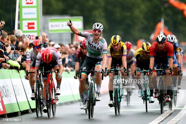 Arrival / Sam Bennett of Ireland and Team Bora-Hansgrohe / Celebration / Edward Theuns of Belgium and Team Trek-Segafredo / Mike Teunissen of The...