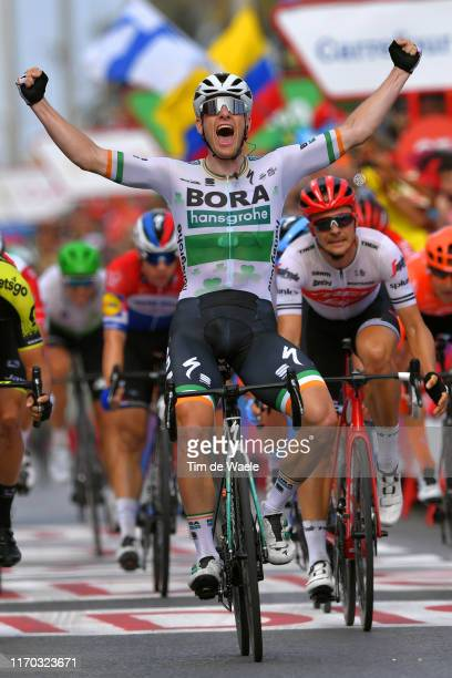 Arrival / Sam Bennett of Ireland and Team Bora-Hansgrohe / Celebration / Edward Theuns of Belgium and Team Trek-Segafredo / during the 74th Tour of...