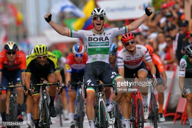 Arrival / Sam Bennett of Ireland and Team Bora-Hansgrohe / Celebration / Edward Theuns of Belgium and Team Trek-Segafredo / Luka Mezgec of Slovenia...