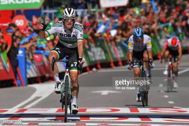 Arrival / Sam Bennett of Ireland and Team Bora-Hansgrohe / Celebration / Maximiliano Ariel Richeze of Argentina and Team Deceuninck-QuickStep / Tosh...