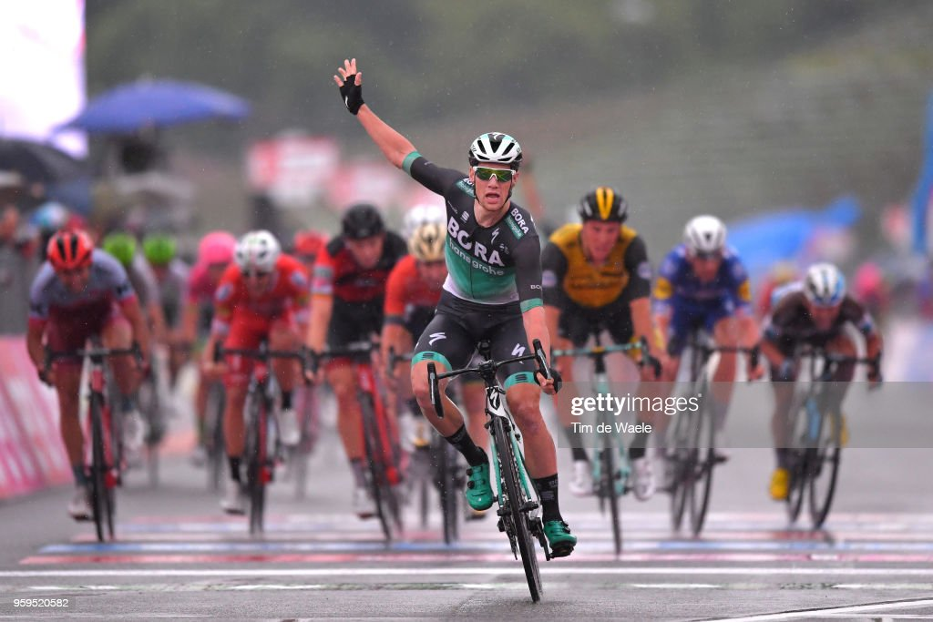 Arrival / Sam Bennett of Ireland and Team Bora-Hansgrohe / Celebration / Danny Van Poppel of The Netherlands and Team LottoNL-Jumbo / during the 101st Tour of Italy 2018, Stage 12 a 214km stage from Osimo to Imola-Autodromo Enzo e Dino Ferrari / Imola F1 Circuit / Giro d'Italia / on May 17, 2018 in Imola, Italy.