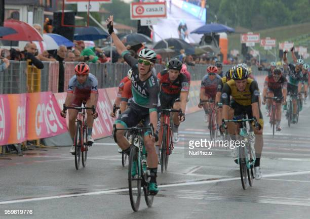 Arrival / Sam Bennett of Ireland and Team BoraHansgrohe / Celebration / during the 101st Tour of Italy 2018 Stage 12 a 214km stage from Osimo to...