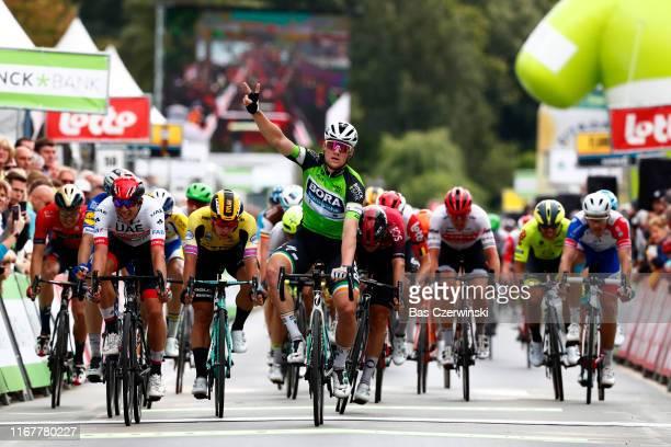 Arrival / Sam Bennett of Ireland and Team Bora-Hansgrohe Green Leader Jersey / Celebration / Jasper Philipsen of Belgium and UAE Team Emirates /...
