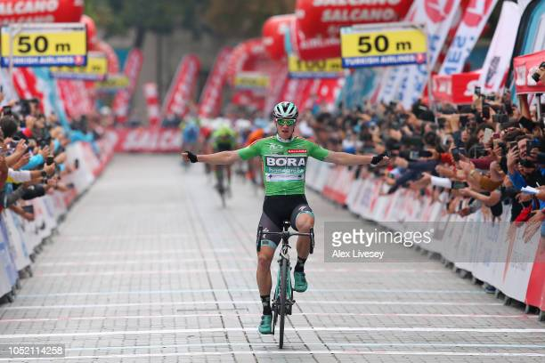 Arrival / Sam Bennett of Ireland and Team BoraHansgrohe Green Sprint Jersey / Celebration / during the54th Presidential Cycling Tour Of Turkey Stage...