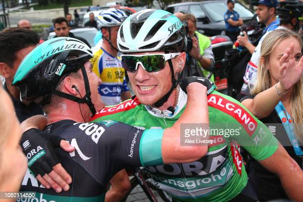 Arrival / Sam Bennett of Ireland and Team BoraHansgrohe Green Sprint Jersey / Jay Mccarthy of Australia and Team BoraHansgrohe / Celebration / during...