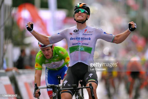 Arrival / Sam Bennett of Ireland and Team Deceuninck - Quick-Step / Celebration / Arnaud Demare of France and Team Groupama - FDJ Green Points Jersey...