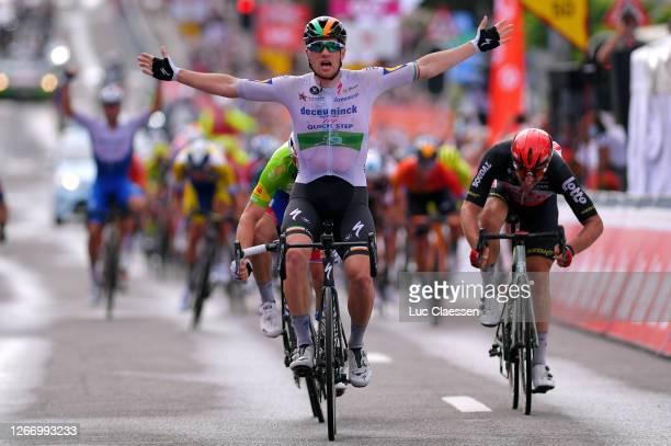 Arrival / Sam Bennett of Ireland and Team Deceuninck - Quick-Step / Celebration / Arnaud Demare of France and Team Groupama - FDJ Green Points Jersey...