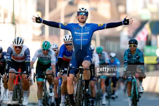 Arrival / Sam Bennett of Ireland and Team Deceuninck - Quick-Step Celebration, Arnaud Demare of France and Team Groupama - FDJ & Mads Pedersen of...