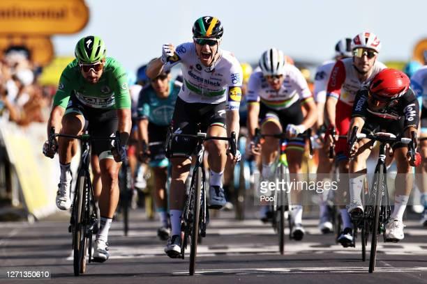 Arrival / Sam Bennett of Ireland and Team Deceuninck - Quick-Step / Celebration / Caleb Ewan of Australia and Team Lotto Soudal / Peter Sagan of...