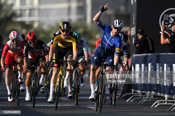 Arrival / Sam Bennett of Ireland and Team Deceuninck - Quick-Step Celebration, David Dekker of The Netherlands and Team Jumbo-Visma, Caleb Ewan of...