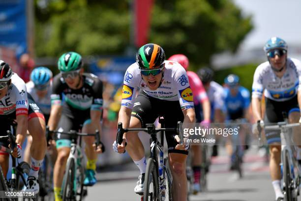 Arrival / Sam Bennett of Ireland and Team Deceuninck - Quick-Step / Celebration / during the 22nd Santos Tour Down Under 2020 - Stage 1 a 150km stage...