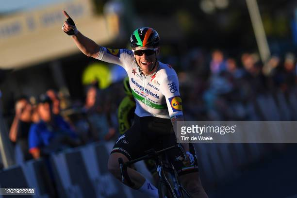 Arrival / Sam Bennett of Ireland and Team Deceuninck - Quick-Step / Celebration / during the 4th Towards Zero Race Torquay 2020, Men Elite 130km race...