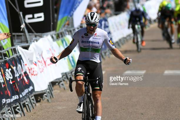 Arrival / Sam Bennett of Ireland and Team Deceuninck - Quick-Step / Celebration / during the 42nd Vuelta a Burgos 2020, Stage 4 a 163km stage from...