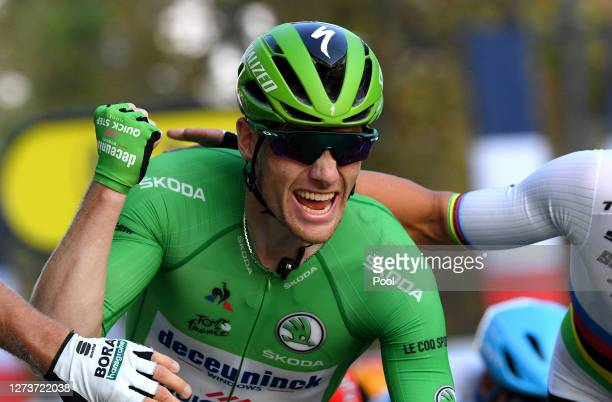 Arrival / Sam Bennett of Ireland and Team Deceuninck - Quick-Step Green Points Jersey / Celebration / during the 107th Tour de France 2020, Stage 21...