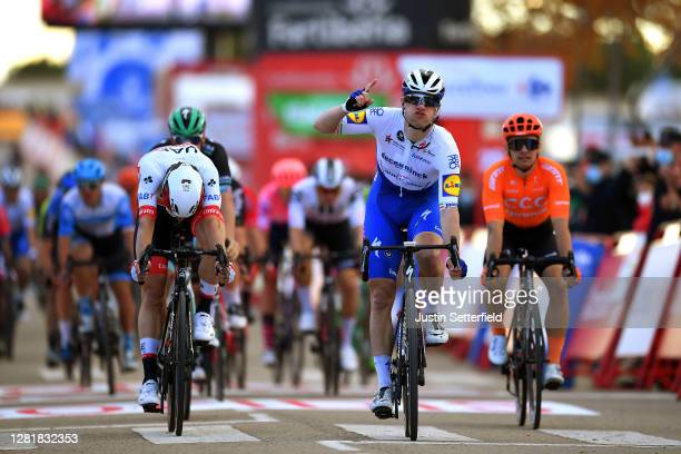Arrival / Sam Bennett of Ireland and Team Deceuninck - Quick-Step / Jasper Philipsen of Belgium and UAE Team Emirates / Jakub Mareczko of Italy and...