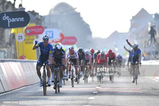 Arrival / Sam Bennett of Ireland and Team Deceuninck - Quick-Step Celebration, Jasper Philipsen of Belgium and Team Alpecin-Fenix during the 45th...