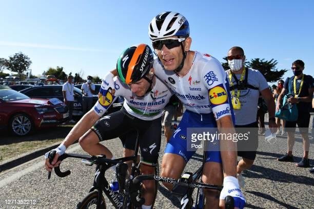 Arrival / Sam Bennett of Ireland and Team Deceuninck - Quick-Step / Michael Morkov of Denmark and Team Deceuninck - Quick-Step / Celebration / during...