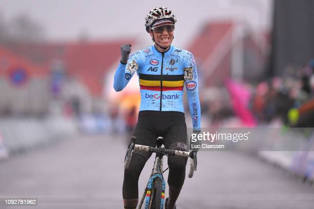 Arrival / Sanne Cant of Belgium and Team Belgium / Celebration / during the 70th Cyclo-cross World Championships Bogense 2019, Women Elite / Cross...