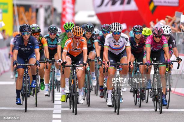 Arrival / Sara Penton of Sweden and Team Virtu Cycling / Amy Pieters of The Netherlands and Boels - Dolmans Cycling Team / Danielle Rowe of Great...