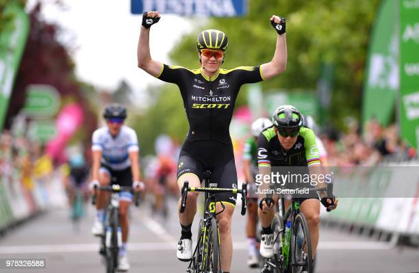 Arrival / Sarah Roy of Australia and Team MitcheltonScott / Celebration / Giorgia Bronzini of Italy and Team Cylance Pro Cycling / Marianne Vos of...