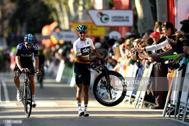 Arrival / Sebastian Henao of Colombia and Team Sky / Egan Arley Bernal of Colombia and Team Sky Orange Best Young Jersey / Mechanical Problem /...
